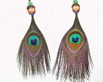 Natural Peacock eye, faceted green feather earrings