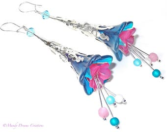 Romantic bohemian sleepers, blue lagoon and pink lucite flowers, crystal top.
