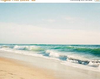 SALE Beach Photography, Coastal Wall Art, Carlsbad California Beach, Sea Green, Coastal Beach Decor, Soothing, Summer