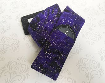 Camera Strap Cover with Lens Cap Pocket, Reversible, Padded, Photographer Gift, Canon, Nikon, Wedding Photog - Purple Galaxy & Black Scroll