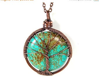 20% OFF Vacation SALE The Round Turquoise Tree of Life Necklace in Antique Copper.
