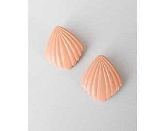 Peach Earrings • Vintage Stud Earrings • 80s Earrings • Shell Earrings • Summer Earrings • Shell Stud Earrings • Fan Earrings | E274