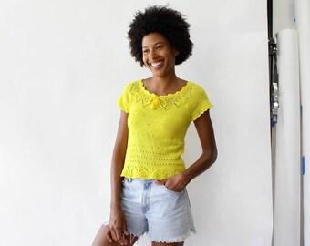 Vintage Crochet Top XS/S • 70s Top • Yellow Top • Summer Top • Cap Sleeve Top • Crochet Shirt • 70s Crochet Top | T254