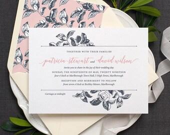 Botanical Wedding Invitation / 'Vintage Rose' Modern Calligraphy Floral Wedding Invite  / Slate Grey Blue Rose Pink or Custom / ONE SAMPLE