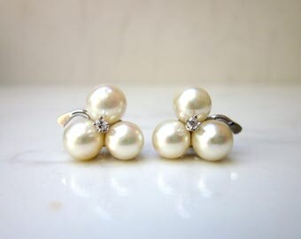 Estate 14k White Gold Three Pearl Flower Cluster Earring Studs with Diamond Accents Pierced Earrings