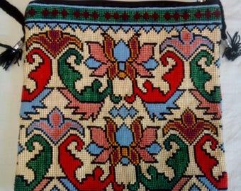Uzbek silk hand embroidered bag Mascot. Cross stitch embroidery. B003