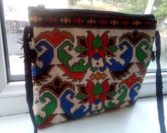 Uzbek silk hand embroidered bag Mascot. Cross stitch embroidery. B002