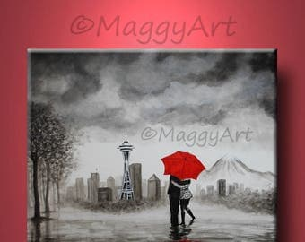 original painting,Seattle lover, kissing in rain, black white red,love couple,24x20 inch,on stretched canvas,great wedding gift