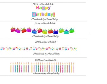 Printable Happy Birthday Cochet Landscape Labels Wraps for dish cloths, wash cloths, baby items, scarf PDF Personalized