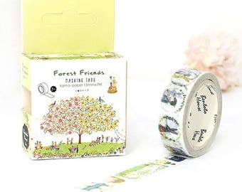 Forest Friends washi tape boxed masking spring nature forest bunny  kamoi washi planner party craft mail stationery - Lillibon