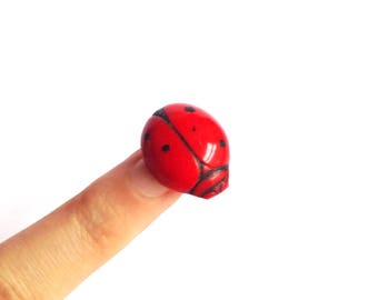 Edwardian 1920s Red glass ladybird bug brooch / 1910 20s pressed glass ladybug insect pin