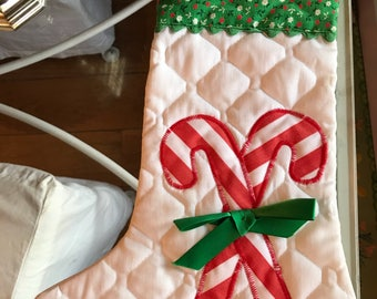 Vintage 1960s Quilted Christmas Stocking / Vintage Xmas Stocking / 1960s Xmas Stocking