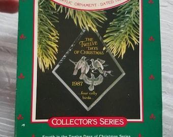 Vintage Hallmark Keepsake Acrylic Christmas Tree Ornament Four Colly Birds 1987 Original Box
