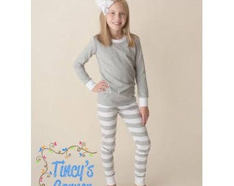FREE PERSONALIZATION - Pre-Order - Grey/White Striped Christmas Pajamas - Monogrammed and/or Appliqued