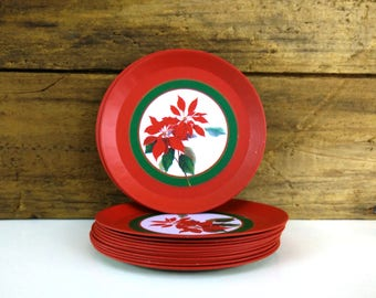 Vintage Tin Christmas Coasters, set of 9, holiday decor
