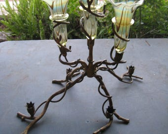 Antique Brass Art Nouveau Candle Holders irradescent ART GLASS inserts