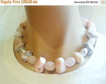 25% OFF SALE Pink Peruvian Opal and Rose Quartz Nugget Statement Necklace Mothers Day Gift For Her