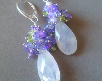 New! Moonstone with Lavender Opals Tanzanite and Peridot on Sterling Silver Leverbacks Gift For Her