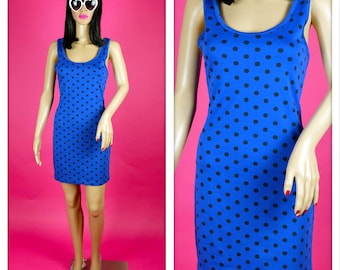 Vintage 1990s Blue and Black Polka Dots Bodycon Dress