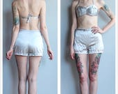1940s Swimsuit // Brilliant Silver Bathing Suit // vintage 40s swimwear
