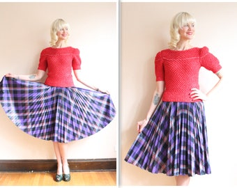 1950s Skirt // Plaid Bill Atkinson Skirt // vintage 50s skirt