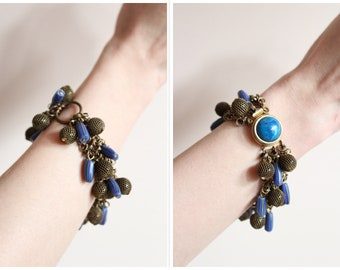 1940s Bracelet // Blue Gem & Brass Filigree Bracelet // vintage 40s jewelry