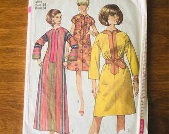 60s Simplicity 7018 Caftan Dress or Muu Muu with Sleeve Options Size 14 Bust 34 MOD