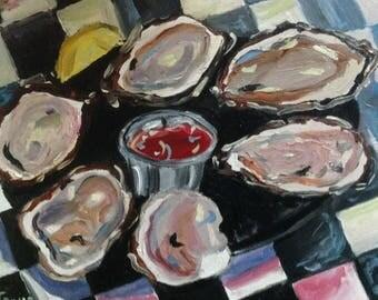 Acme Oysters | Print of Oil Painting by Louisiana Artist Kristi Jones | half a dozen lemon cocktail sauce cuisine New Orleans French Quarter