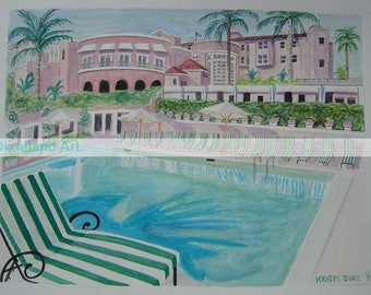 Commission Special Request | 11 x 14 Signed Watercolor Painting | similar to Beverly Hills Hollywood California | hotel swimming pool art