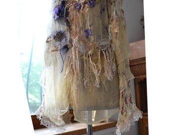 RESERVED Beautiful Unique Art To Wear Feminine Transparent  Floaty Loose Jacket  LITTLE  MEADOW FLOWERs Fairy  Antoinette Tattered