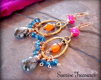Black Rutilated Quartz Earrings, Peacock Blue Apatite, Orange Carnelian, Hot Pink Chalcedony, Artisan Copper Earrings, Colorful Earrings