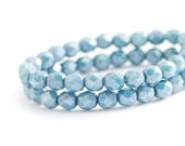 WE'RE BACK! Blue Denim Czech Glass Beads, Round Faceted Fire Polished Spacers (6mm) x 25 (0012)