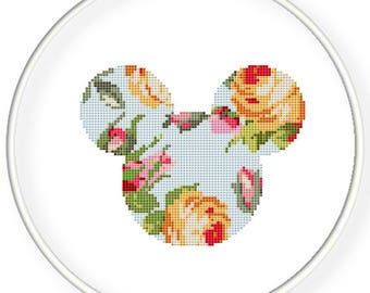 Instant Download,Free shipping,Counted Cross stitch pattern,Cross-Stitch PDF,cloth pattern,vintage rose mice,zxxc0980
