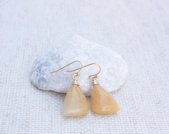 Jade Stone Drop Earrings, Yellow Jade Triangle Stones, Wire Wrapped Stones