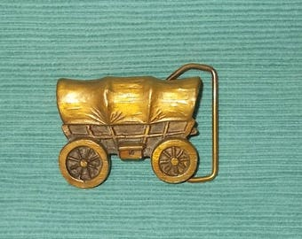 Vintage 1970's Adezy Brass Belt Buckle-Consetoga Wagon-Pioneers-Western Wagon Train-FREE SHIPPING!