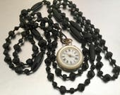 Antique Victorian Jet Long Chain Necklace. Black Vauxhall Glass Mourning Necklace. Muff Lorgnette Pocket Watch Guard Chain. French Jet Beads