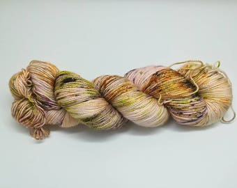 "Hand dyed sparkle sock yarn  colourway ""Autumn leaves light""- Merino, Nylon and Stellina, Fingering - Brilli Brilli base"