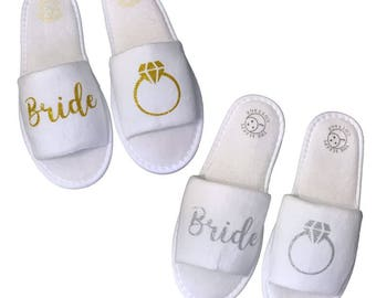 Bride's Ring Spa Slippers - Silver or Gold
