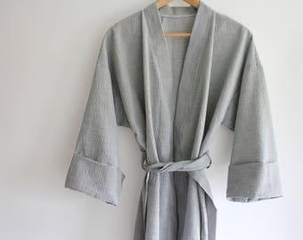 Handmade Seersucker Robe - 3 Colors