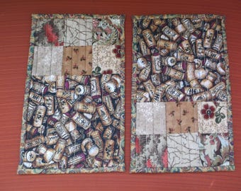 Wine cork set of two mug rugs quilted mug rugs