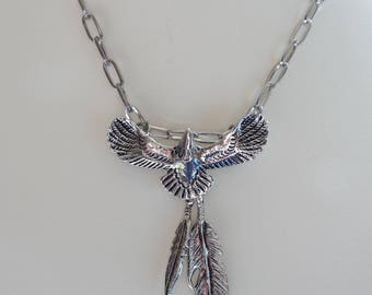 Vintage Silvertone Eagle and Feathers Pendant Necklace Southwestern Style
