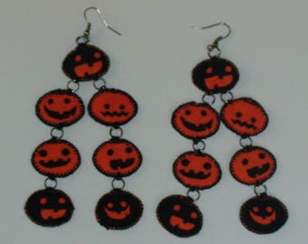 Halloween, Quilted 7 Pumpkin Dangle-Drop Earrings (HQ7PE01)