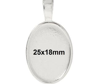 10 pcs. Silver Plated Oval Pendant Picture Photo Frame Bezel Setting Pendants Charms - 25mm x 18mm Glue Pad for Cabochons - 25x18mm
