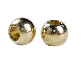 100 pcs Gold Plated Smooth Ball Spacer Beads - 10mm - Large Hole: 4.7mm - Fits European Cords and Paracord!