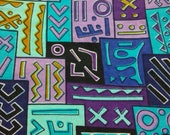 Per yard purple and blue Kuba tribal print fabric per yard/ Tribal print fabric/ African head wrap fabric/ African clothing fabric
