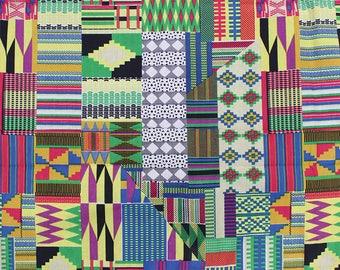 Patchwork Kente Jersey fabric per yard/ Multicolor Kente African fabric/ Kente prints/ Ankara Jersey fabric