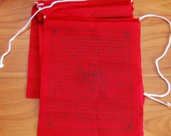 Tibetan Prayer Flags Solid Red Color Guru Rinpoche Set of Ten Flags