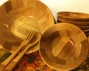 Mid-century Wooden Salad Set Modern Large Bowl Fork Spoon 8 Small Bowls
