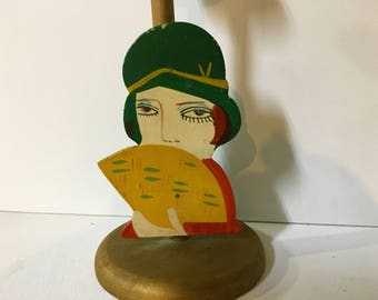 Vintage Hat Stand Art Deco Flapper Wooden