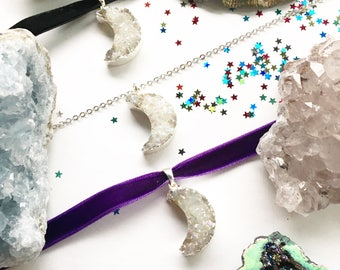 Crystal Moon Choker / Necklace - Aura Quartz Crystal, Sterling Silver / Silver Plated / Velvet Options - iridescent mermaid crescent